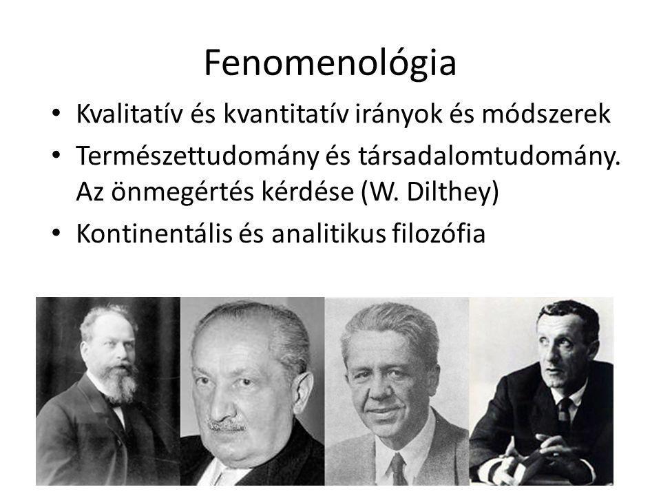 Fenomenológia Kvalitatív és kvantitatív irányok és módszerek