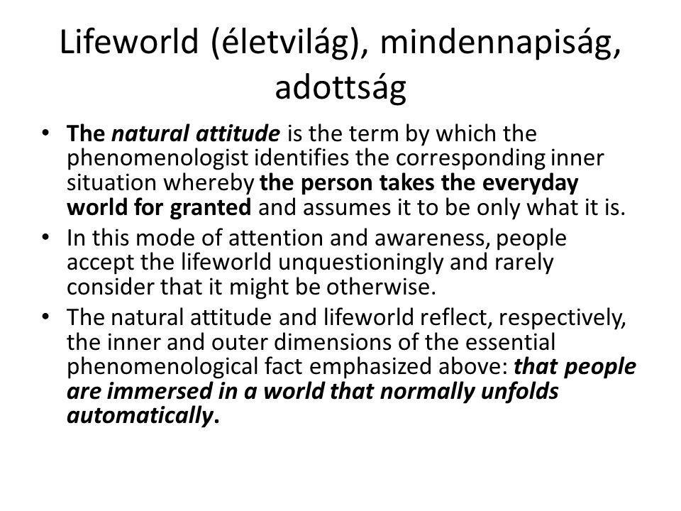 Lifeworld (életvilág), mindennapiság, adottság