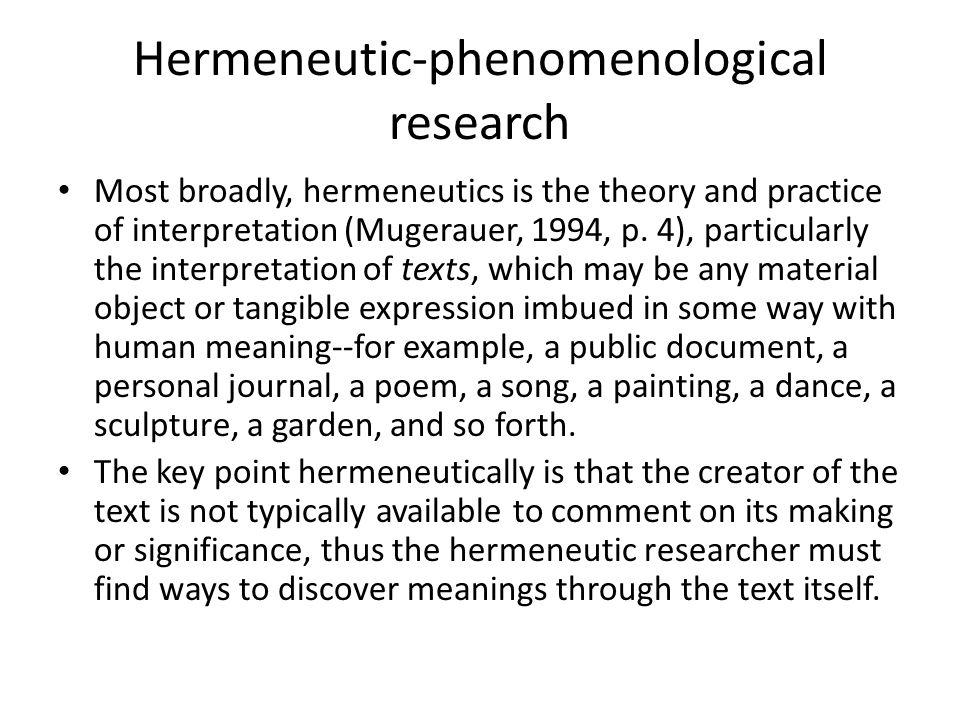 Hermeneutic-phenomenological research