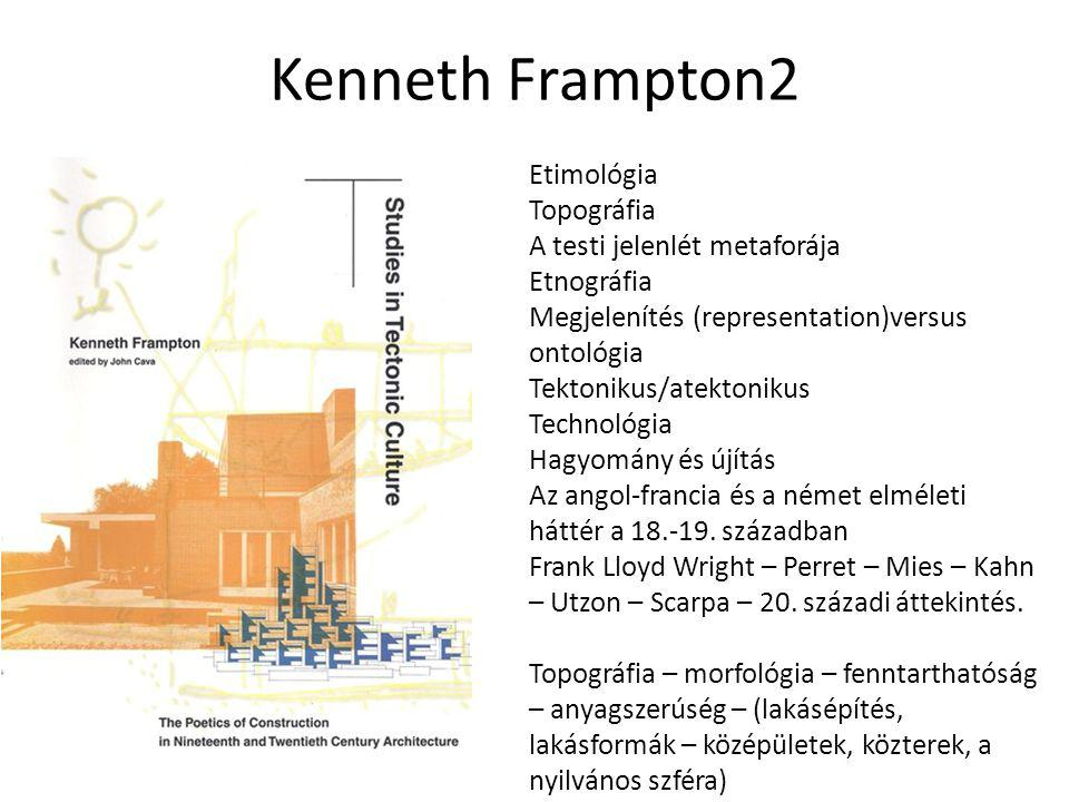 Kenneth Frampton2 Etimológia Topográfia A testi jelenlét metaforája