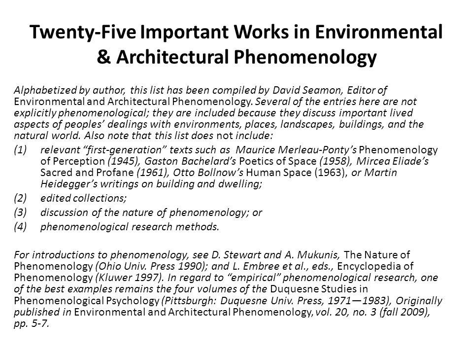 Twenty-Five Important Works in Environmental & Architectural Phenomenology