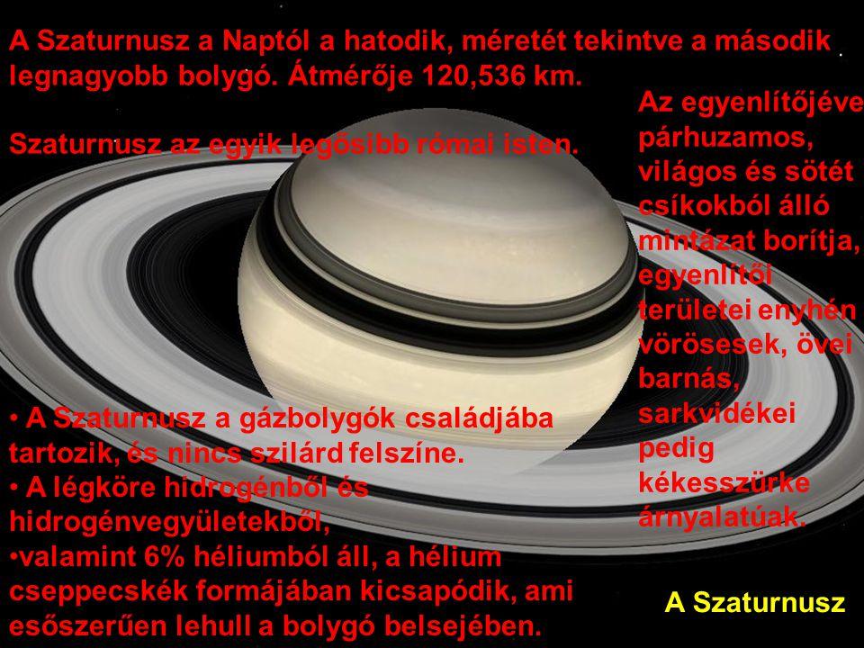 A Szaturnusz a Naptól a hatodik, méretét tekintve a második legnagyobb bolygó. Átmérője 120,536 km.