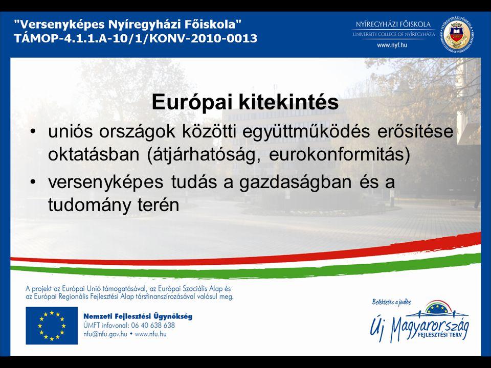 Európai kitekintés uniós országok közötti együttműködés erősítése oktatásban (átjárhatóság, eurokonformitás)