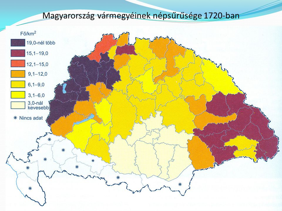 Magyarország vármegyéinek népsűrűsége 1720-ban