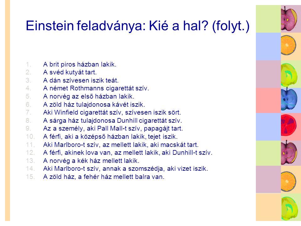 Einstein feladványa: Kié a hal (folyt.)
