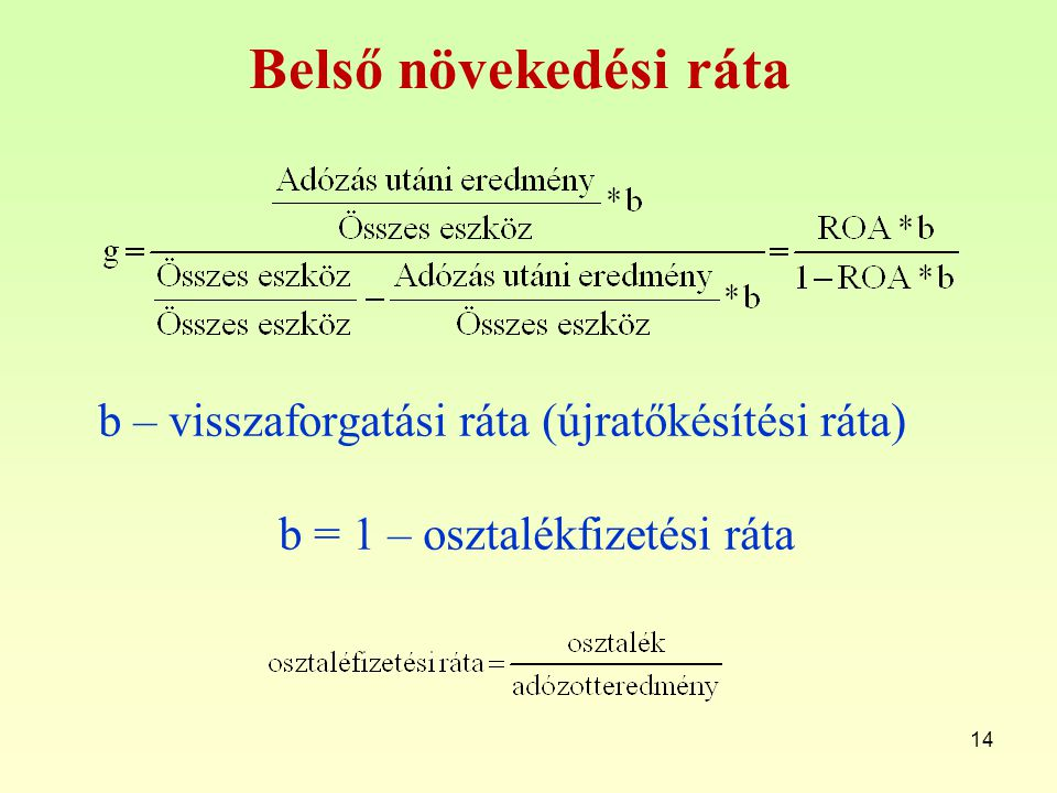 b = 1 – osztalékfizetési ráta