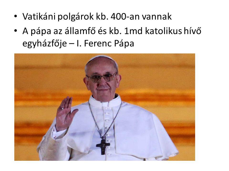 Vatikáni polgárok kb. 400-an vannak