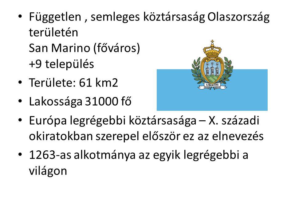 Független , semleges köztársaság Olaszország területén San Marino (főváros) +9 település