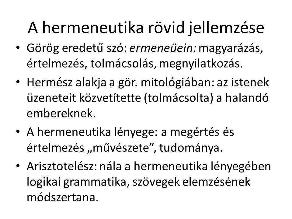 A hermeneutika rövid jellemzése