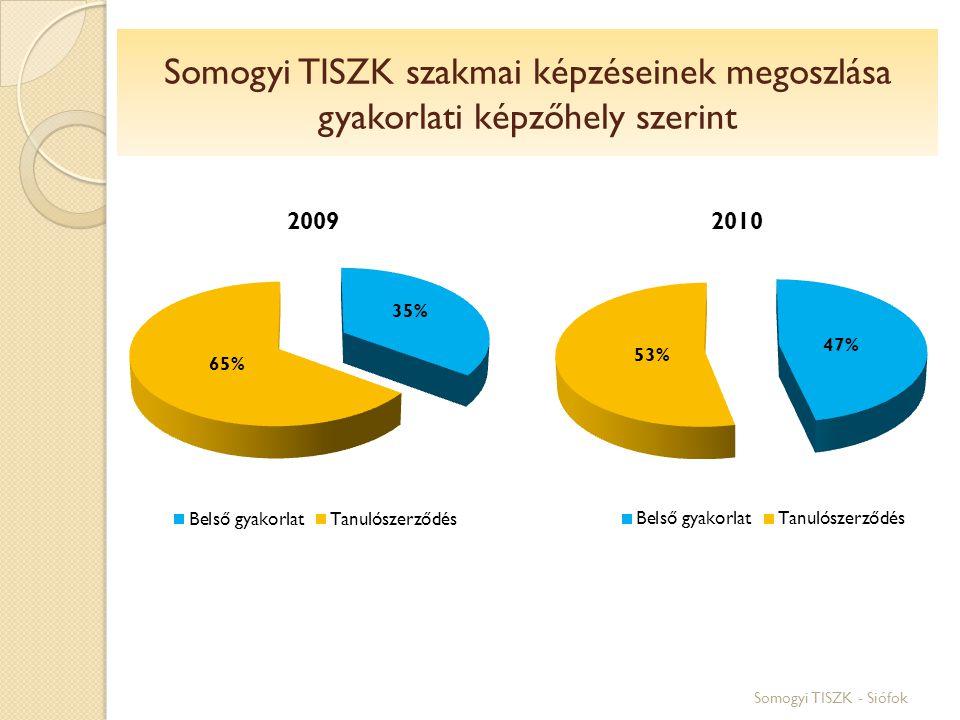 Somogyi TISZK szakmai képzéseinek megoszlása gyakorlati képzőhely szerint