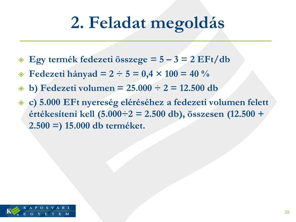 2. Feladat megoldás Egy termék fedezeti összege = 5 – 3 = 2 EFt/db