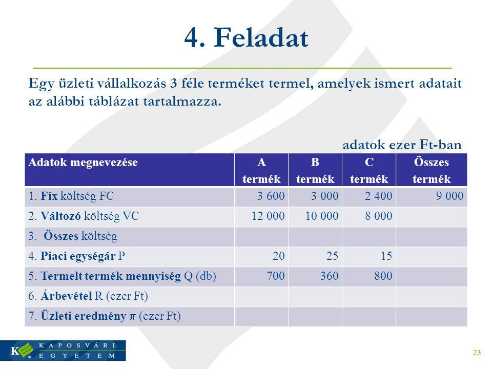 4. Feladat Egy üzleti vállalkozás 3 féle terméket termel, amelyek ismert adatait az alábbi táblázat tartalmazza.