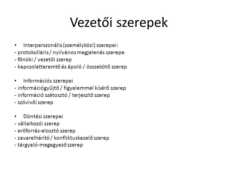 Vezetői szerepek Interperszonális (személyközi) szerepei: