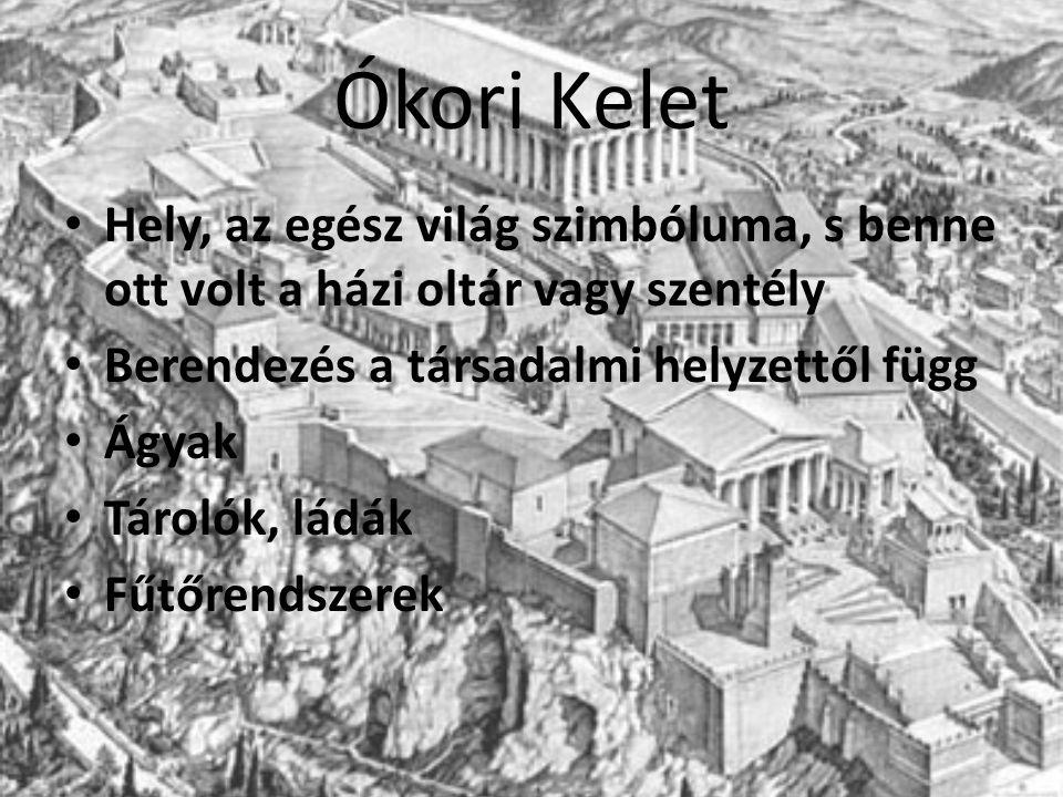Ókori Kelet Hely, az egész világ szimbóluma, s benne ott volt a házi oltár vagy szentély. Berendezés a társadalmi helyzettől függ.