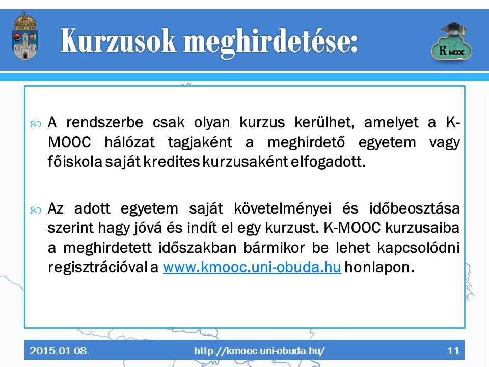 Kurzusok meghirdetése: