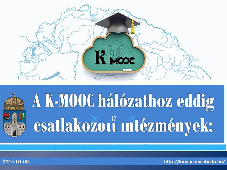 A K-MOOC hálózathoz eddig csatlakozott intézmények: