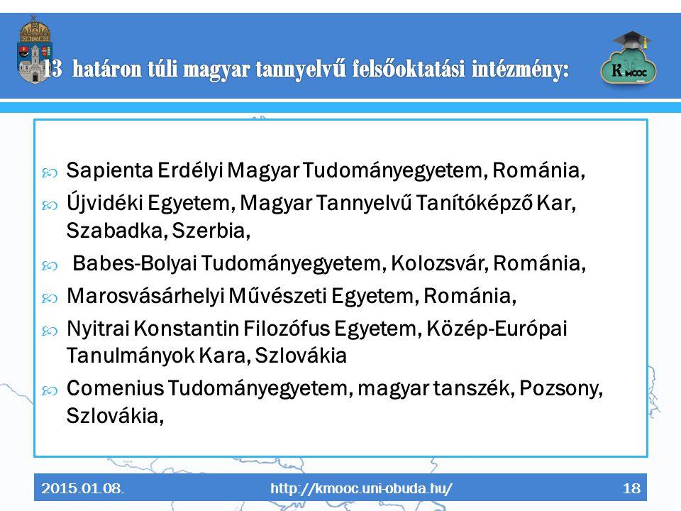 13 határon túli magyar tannyelvű felsőoktatási intézmény: