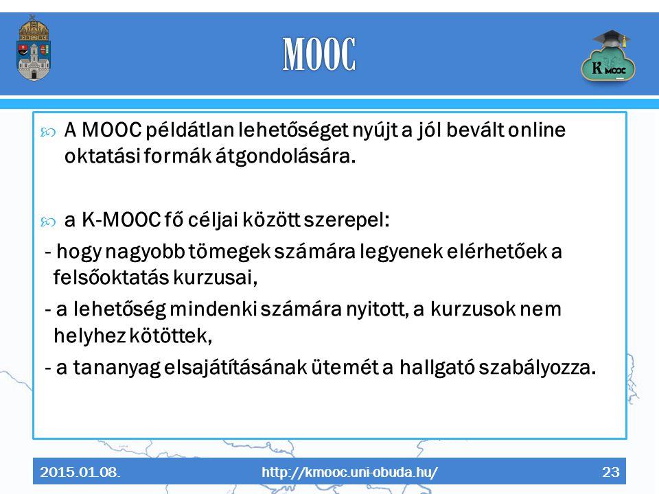 MOOC A MOOC példátlan lehetőséget nyújt a jól bevált online oktatási formák átgondolására. a K-MOOC fő céljai között szerepel: