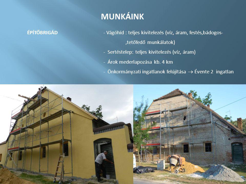 MUNKÁINK ÉPÍTŐBRIGÁD - Vágóhíd : teljes kivitelezés (víz, áram, festés,bádogos- ,tetőfedő munkálatok)