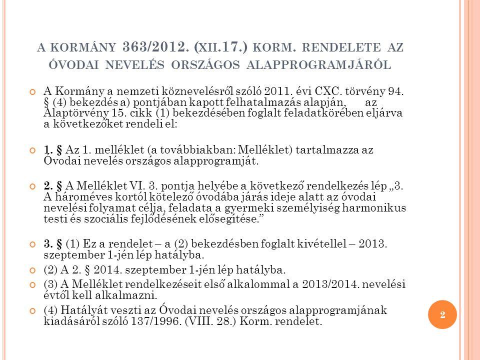a kormány 363/2012. (xii.17.) korm. rendelete az óvodai nevelés országos alapprogramjáról