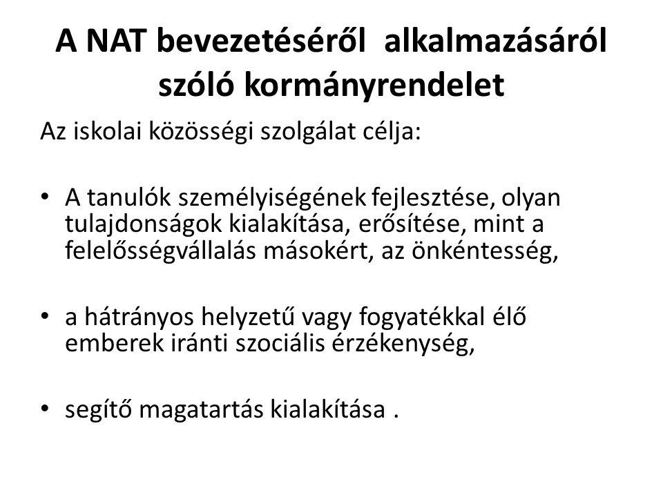 A NAT bevezetéséről alkalmazásáról szóló kormányrendelet