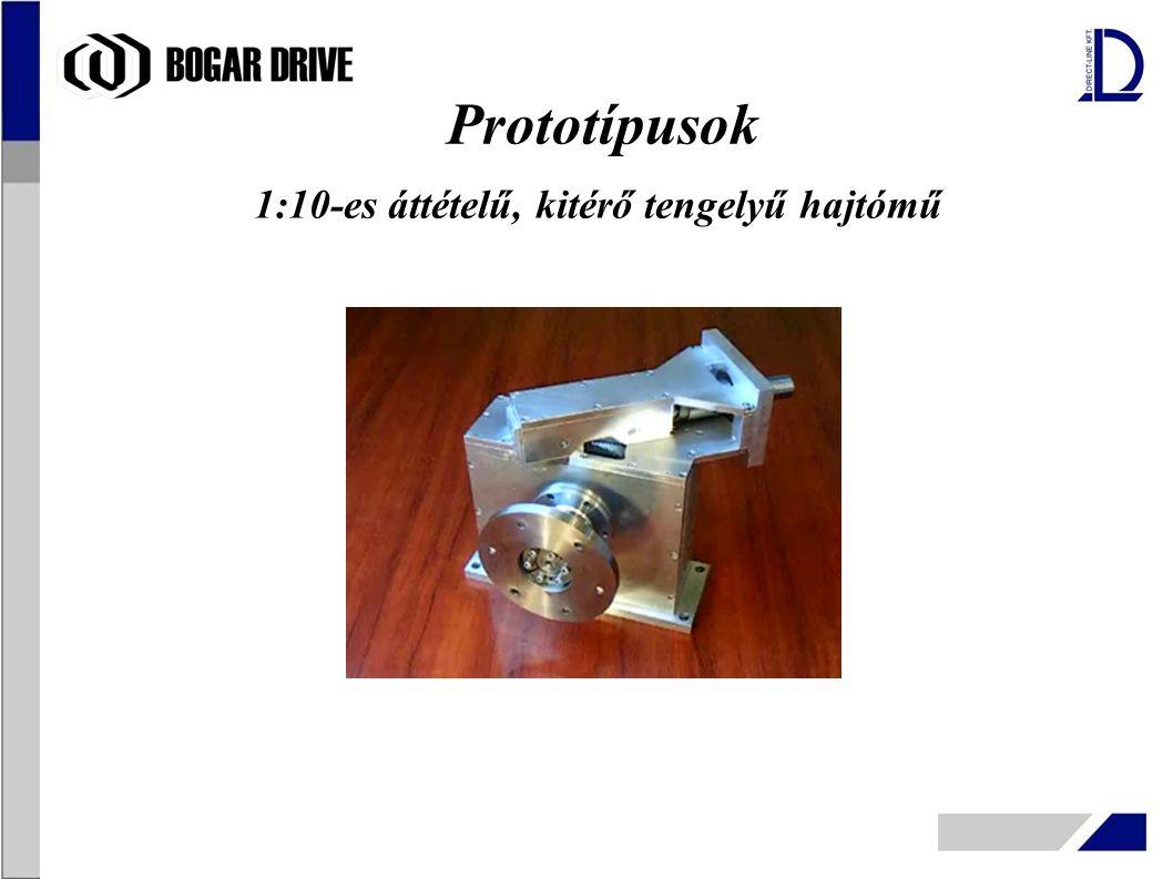 1:10-es áttételű, kitérő tengelyű hajtómű