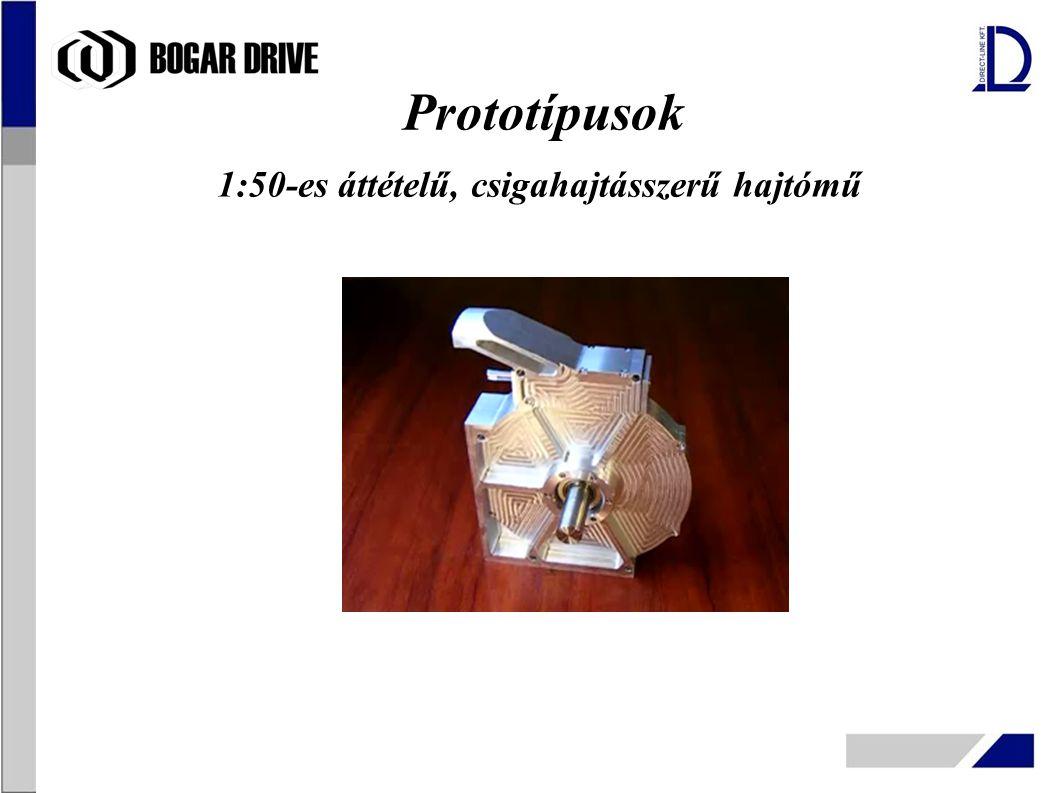 1:50-es áttételű, csigahajtásszerű hajtómű