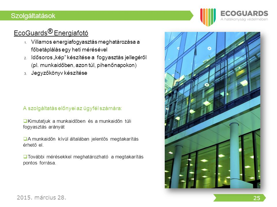 Szolgáltatások EcoGuards® Energiafotó