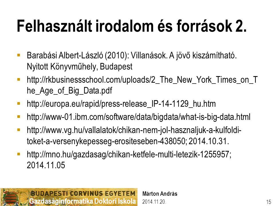 Felhasznált irodalom és források 2.