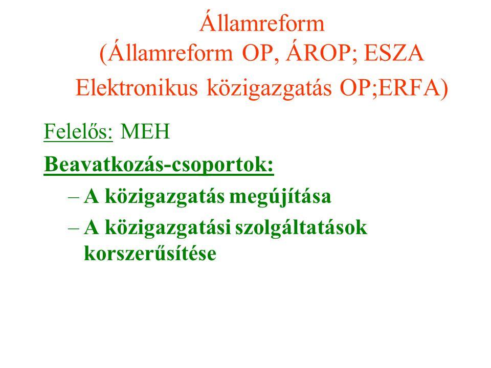 Államreform (Államreform OP, ÁROP; ESZA Elektronikus közigazgatás OP;ERFA)