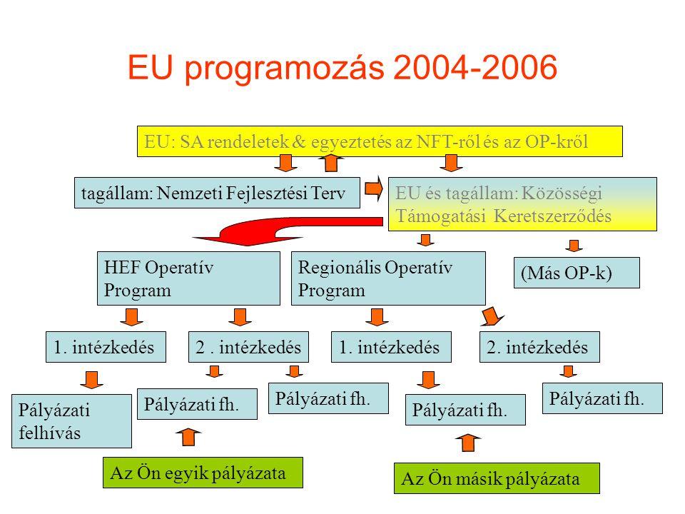 EU programozás 2004-2006 EU: SA rendeletek & egyeztetés az NFT-ről és az OP-kről. tagállam: Nemzeti Fejlesztési Terv.