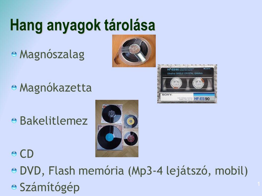 Hang anyagok tárolása Magnószalag Magnókazetta Bakelitlemez CD