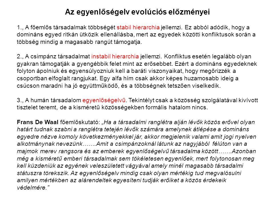 Az egyenlőségelv evolúciós előzményei