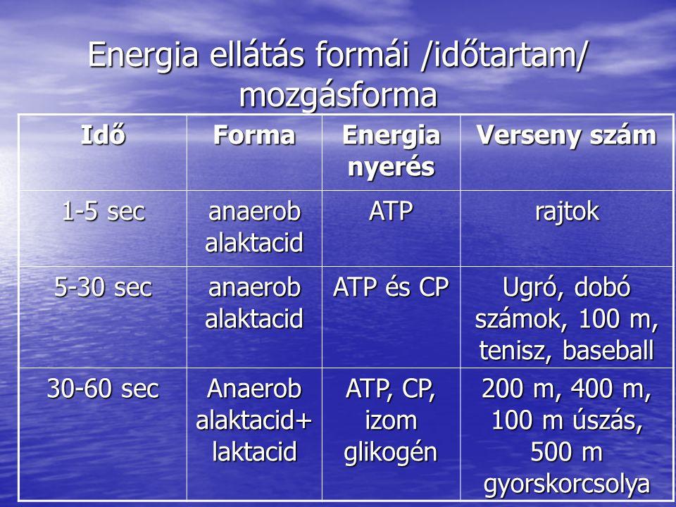 Energia ellátás formái /időtartam/ mozgásforma