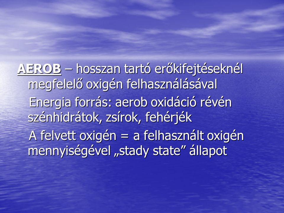 AEROB – hosszan tartó erőkifejtéseknél megfelelő oxigén felhasználásával