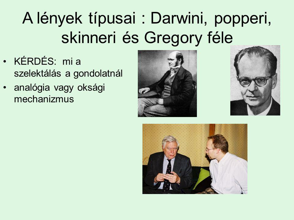 A lények típusai : Darwini, popperi, skinneri és Gregory féle