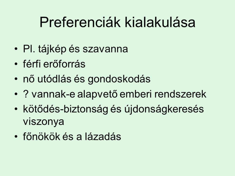 Preferenciák kialakulása