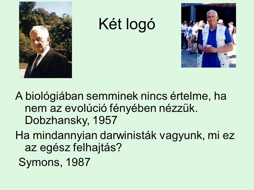 Két logó A biológiában semminek nincs értelme, ha nem az evolúció fényében nézzük. Dobzhansky, 1957.