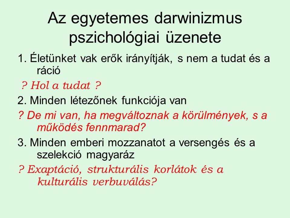 Az egyetemes darwinizmus pszichológiai üzenete