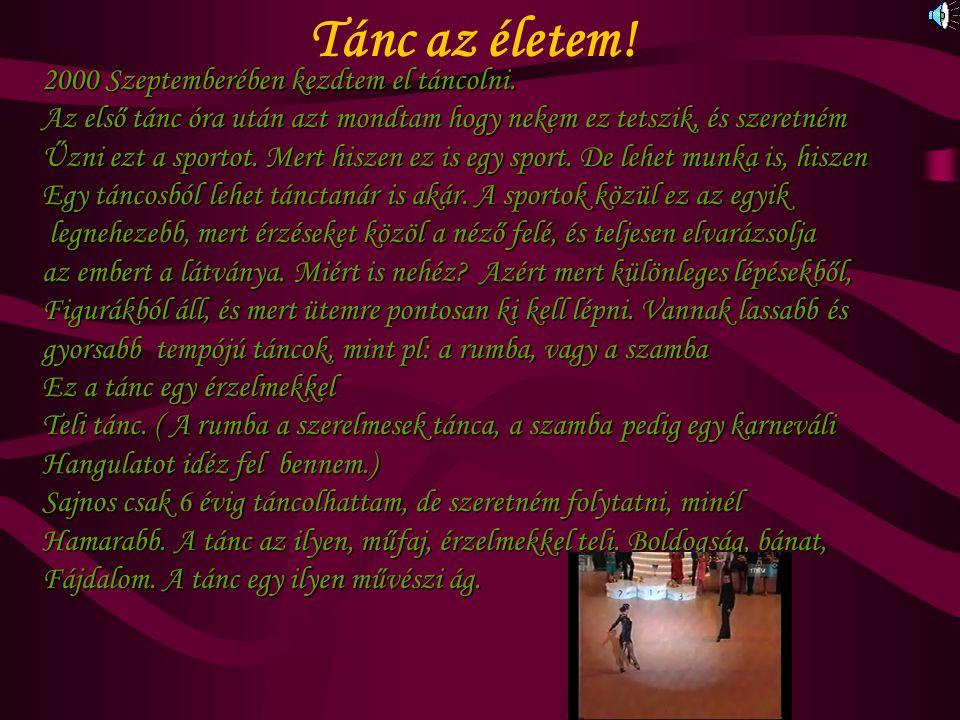 Tánc az életem! 2000 Szeptemberében kezdtem el táncolni.