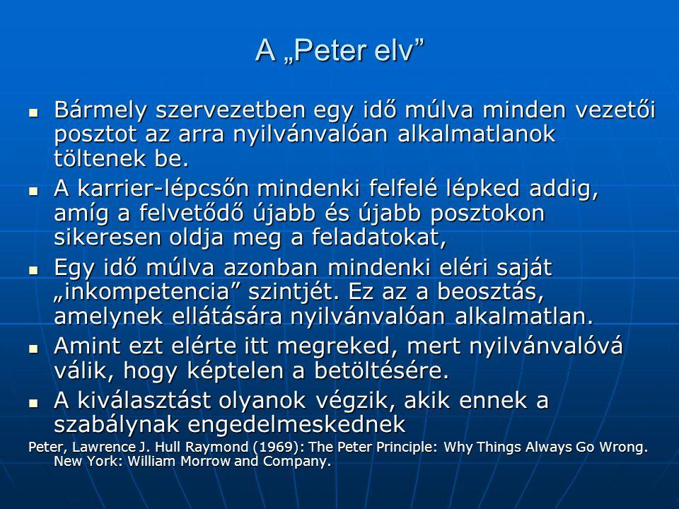 """A """"Peter elv Bármely szervezetben egy idő múlva minden vezetői posztot az arra nyilvánvalóan alkalmatlanok töltenek be."""