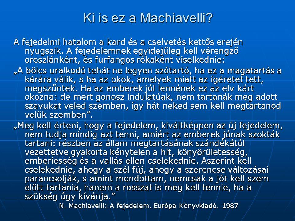 N. Machiavelli: A fejedelem. Európa Könyvkiadó. 1987