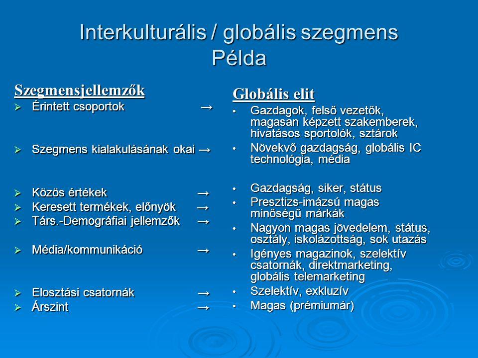 Interkulturális / globális szegmens Példa