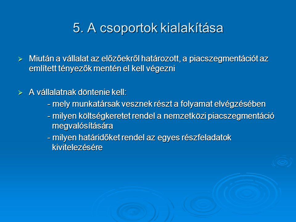 5. A csoportok kialakítása