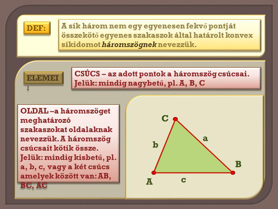 A sík három nem egy egyenesen fekvő pontját összekötő egyenes szakaszok által határolt konvex síkidomot háromszögnek nevezzük.