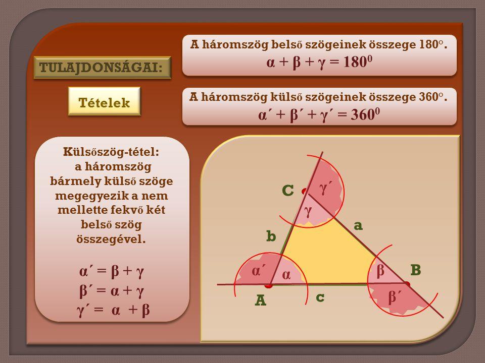 α + β + γ = 1800 α´ + β´ + γ´ = 3600 α´ = β + γ β´ = α + γ γ´ = α + β