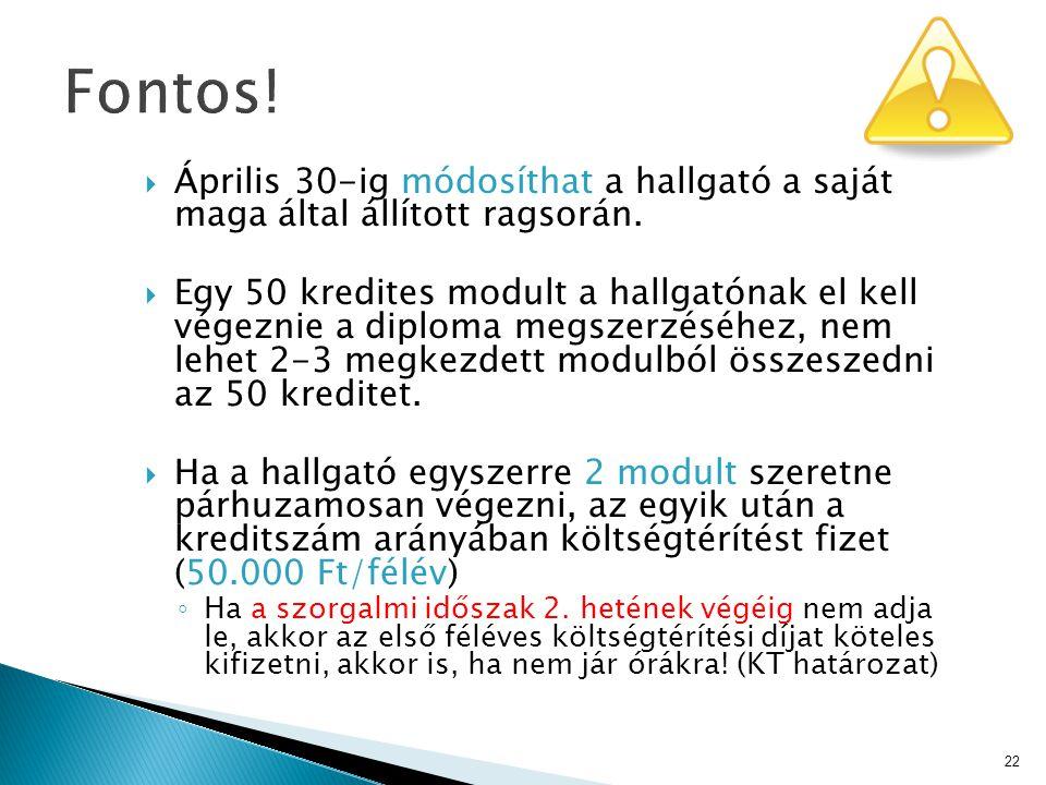 Fontos! Április 30-ig módosíthat a hallgató a saját maga által állított ragsorán.