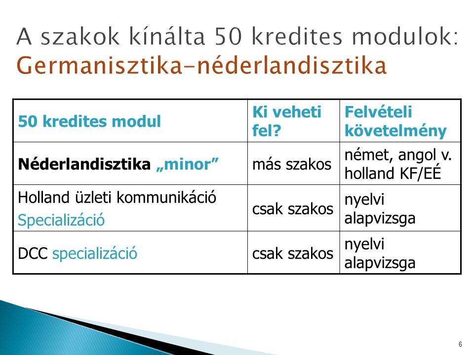 A szakok kínálta 50 kredites modulok: Germanisztika-néderlandisztika