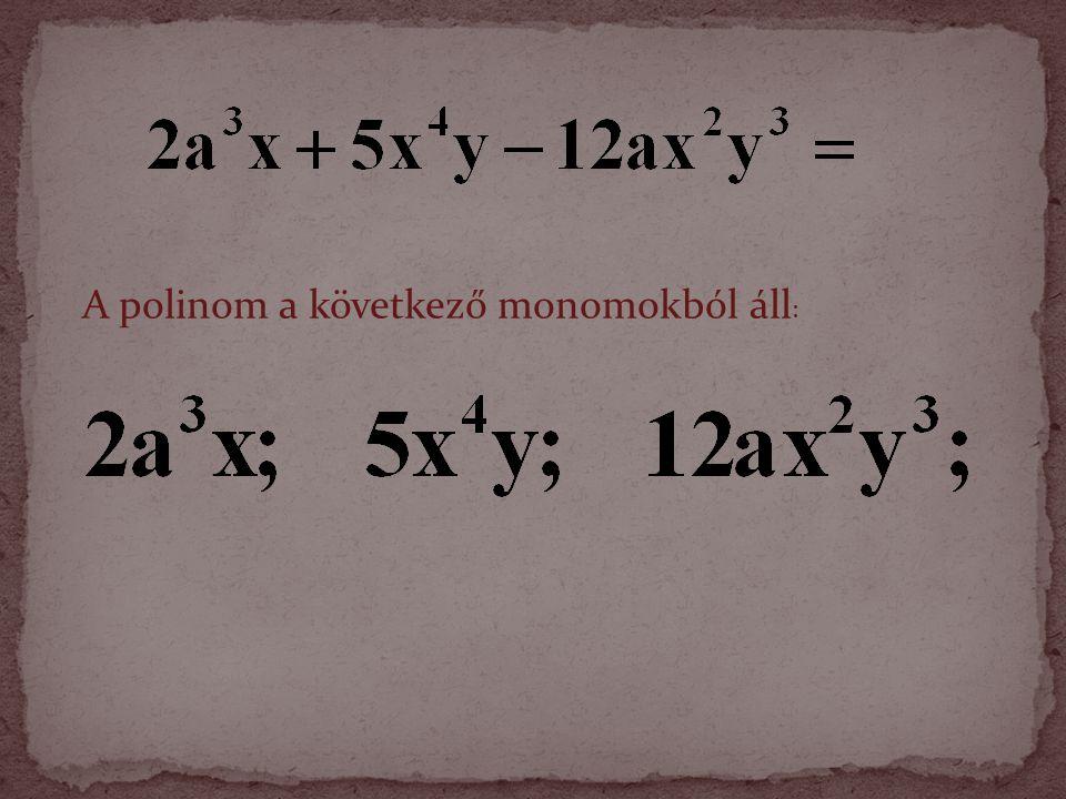 A polinom a következő monomokból áll: