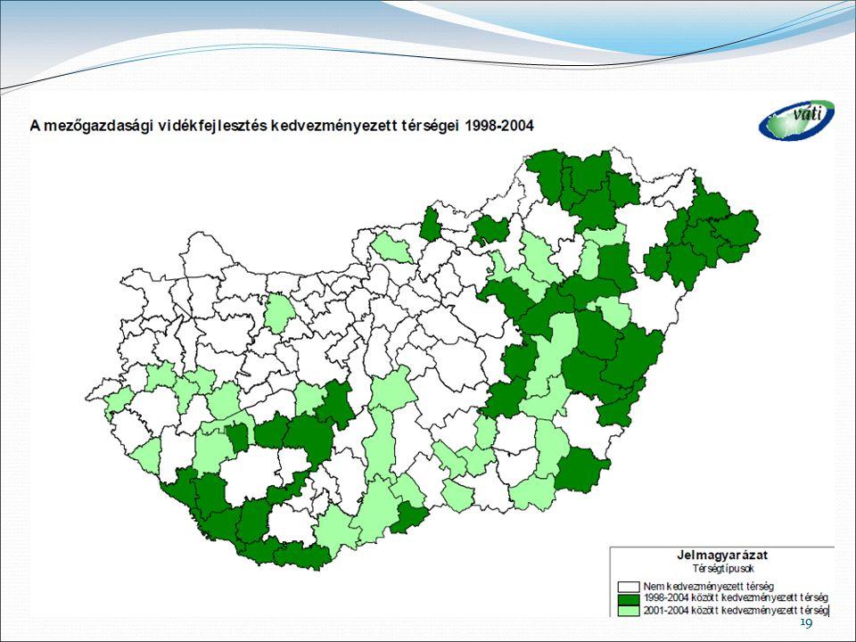 Ezzel szemben a mezőgazdasági vidékfejlesztés kedvezményezett kistérségeinek száma 2001 után szinte megduplázódott